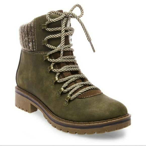 Sweater Hiking Boots Olive Green Womens